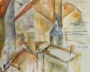 100 x 100 cm . Halvabstrakt acryl på lærred
