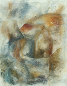 90 x 100 cm . Abstrakt acryl m. struktur på Lærred